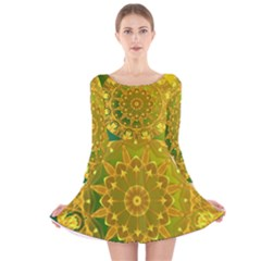 Yellow Green Abstract Wheel Of Fire Long Sleeve Velvet Skater Dress