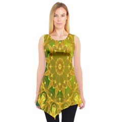 Yellow Green Abstract Wheel Of Fire Sleeveless Tunic