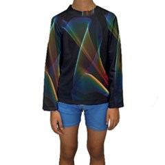 Abstract Rainbow Lily, Colorful Mystical Flower  Kid s Long Sleeve Swimwear