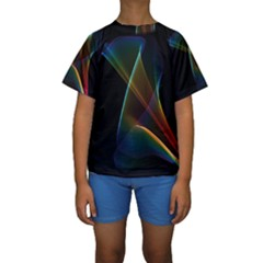 Abstract Rainbow Lily, Colorful Mystical Flower  Kid s Short Sleeve Swimwear