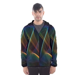 Abstract Rainbow Lily, Colorful Mystical Flower  Hooded Wind Breaker (men)