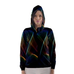 Abstract Rainbow Lily, Colorful Mystical Flower  Hooded Wind Breaker (Women)