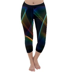 Abstract Rainbow Lily, Colorful Mystical Flower  Capri Winter Leggings
