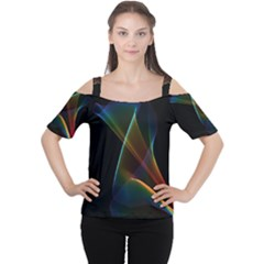 Abstract Rainbow Lily, Colorful Mystical Flower  Women s Cutout Shoulder Tee