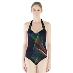 Abstract Rainbow Lily, Colorful Mystical Flower  Women s Halter One Piece Swimsuit