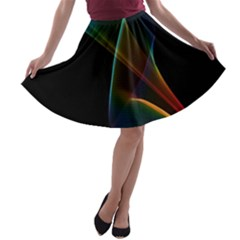 Abstract Rainbow Lily, Colorful Mystical Flower  A-line Skater Skirt