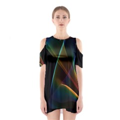 Abstract Rainbow Lily, Colorful Mystical Flower  Cutout Shoulder Dress
