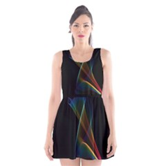 Abstract Rainbow Lily, Colorful Mystical Flower  Scoop Neck Skater Dress