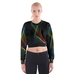 Abstract Rainbow Lily, Colorful Mystical Flower  Women s Cropped Sweatshirt