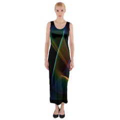 Abstract Rainbow Lily, Colorful Mystical Flower  Fitted Maxi Dress