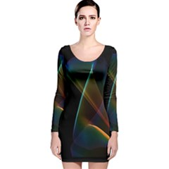 Abstract Rainbow Lily, Colorful Mystical Flower  Long Sleeve Velvet Bodycon Dress