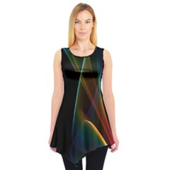 Abstract Rainbow Lily, Colorful Mystical Flower  Sleeveless Tunic