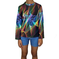 Aurora Ribbons, Abstract Rainbow Veils  Kid s Long Sleeve Swimwear