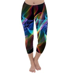 Aurora Ribbons, Abstract Rainbow Veils  Capri Winter Leggings