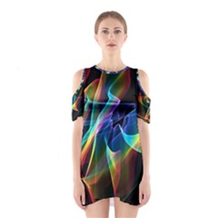 Aurora Ribbons, Abstract Rainbow Veils  Cutout Shoulder Dress
