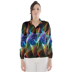 Aurora Ribbons, Abstract Rainbow Veils  Wind Breaker (women)