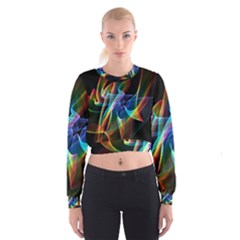 Aurora Ribbons, Abstract Rainbow Veils  Women s Cropped Sweatshirt