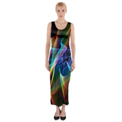 Aurora Ribbons, Abstract Rainbow Veils  Fitted Maxi Dress