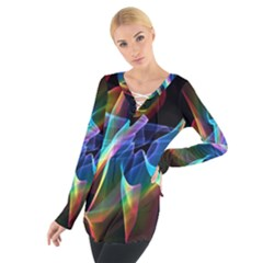 Aurora Ribbons, Abstract Rainbow Veils  Women s Tie Up Tee