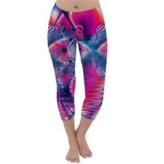 Cosmic Heart of Fire, Abstract Crystal Palace Capri Winter Leggings