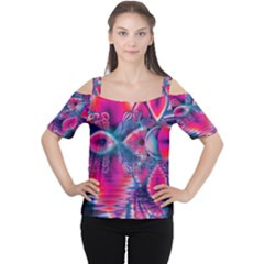 Cosmic Heart of Fire, Abstract Crystal Palace Women s Cutout Shoulder Tee