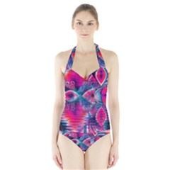 Cosmic Heart of Fire, Abstract Crystal Palace Women s Halter One Piece Swimsuit