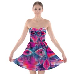 Cosmic Heart Of Fire, Abstract Crystal Palace Strapless Dresses
