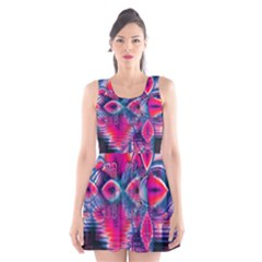 Cosmic Heart of Fire, Abstract Crystal Palace Scoop Neck Skater Dress