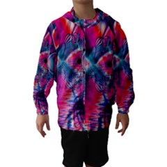 Cosmic Heart Of Fire, Abstract Crystal Palace Hooded Wind Breaker (kids)