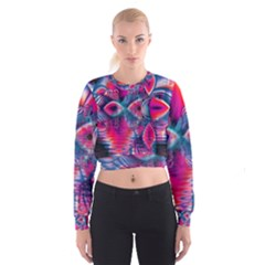 Cosmic Heart of Fire, Abstract Crystal Palace Women s Cropped Sweatshirt
