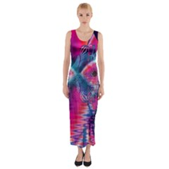 Cosmic Heart of Fire, Abstract Crystal Palace Fitted Maxi Dress