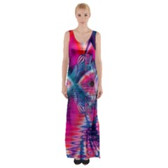 Cosmic Heart of Fire, Abstract Crystal Palace Maxi Thigh Split Dress
