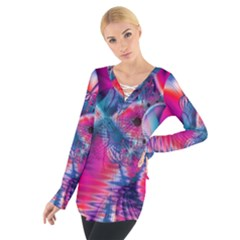 Cosmic Heart of Fire, Abstract Crystal Palace Women s Tie Up Tee