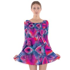 Cosmic Heart of Fire, Abstract Crystal Palace Long Sleeve Velvet Skater Dress