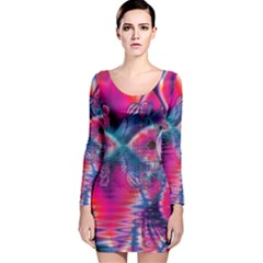 Cosmic Heart of Fire, Abstract Crystal Palace Long Sleeve Velvet Bodycon Dress