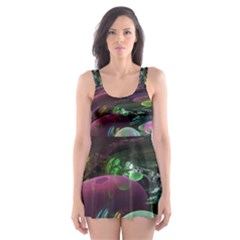 Creation Of The Rainbow Galaxy, Abstract Skater Dress Swimsuit
