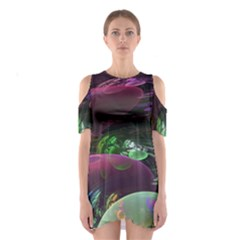 Creation Of The Rainbow Galaxy, Abstract Cutout Shoulder Dress