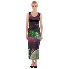 Creation Of The Rainbow Galaxy, Abstract Fitted Maxi Dress