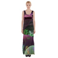 Creation Of The Rainbow Galaxy, Abstract Maxi Thigh Split Dress