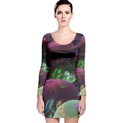Creation Of The Rainbow Galaxy, Abstract Long Sleeve Velvet Bodycon Dress
