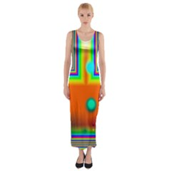 Crossroads Of Awakening, Abstract Rainbow Doorway  Fitted Maxi Dress