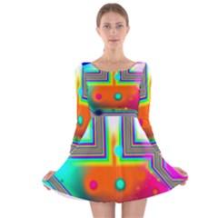 Crossroads Of Awakening, Abstract Rainbow Doorway  Long Sleeve Velvet Skater Dress