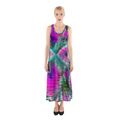 Crystal Flower Garden, Abstract Teal Violet Full Print Maxi Dress