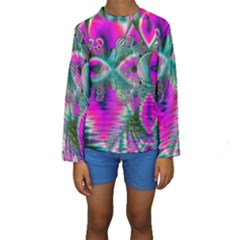 Crystal Flower Garden, Abstract Teal Violet Kid s Long Sleeve Swimwear