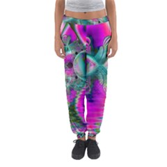 Crystal Flower Garden, Abstract Teal Violet Women s Jogger Sweatpants
