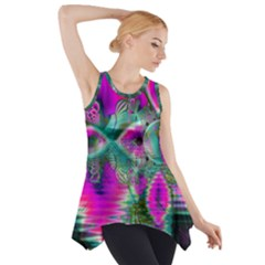 Crystal Flower Garden, Abstract Teal Violet Side Drop Tank Tunic