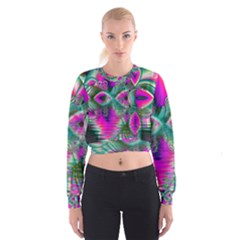 Crystal Flower Garden, Abstract Teal Violet Women s Cropped Sweatshirt