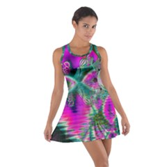 Crystal Flower Garden, Abstract Teal Violet Racerback Dresses
