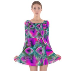 Crystal Flower Garden, Abstract Teal Violet Long Sleeve Velvet Skater Dress