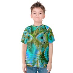 Crystal Gold Peacock, Abstract Mystical Lake Kid s Cotton Tee